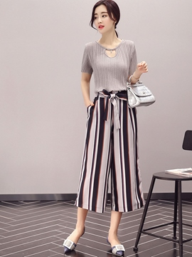 Ericdress Stripe Pants Leisure Suit