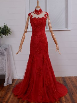 Ericdress Vintage High Neck Cap Sleeve Applique Lace Beaded Evening Dress