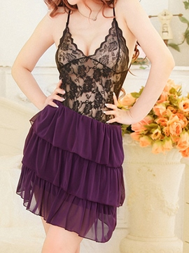 Ericdress Pleated Lace Patchwork Sexy V-Neck Chemise