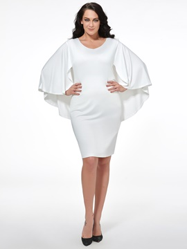 Ericdress Plain Cape Plus Size Bodycon Dress