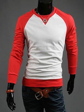 Ericdress Color Block Round Neck Casual Men's Hoodie