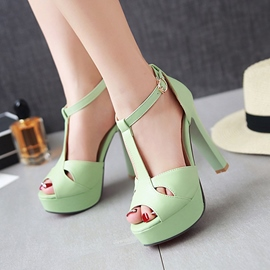 Ericdress T Strap Peep Toe Chunky Sandals