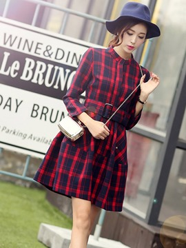 Ericdress Plaid Belt Long Sleeve Casual Dress
