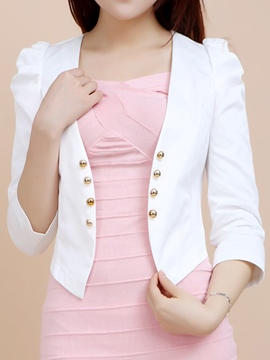 Ericdress Short Double-Breasted Puff Sleeve Blazer