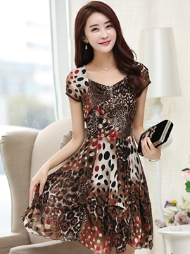 Ericdress Leopard Print Square Neck Casual Dress