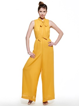 Ericdress Slim Plain Wide Legs Jumpsuit Pants