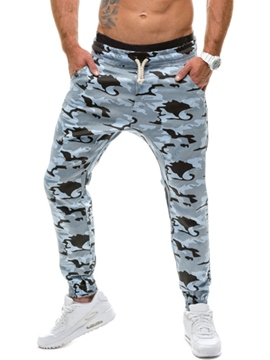 Ericdress Camouflage Lace-Up Slim Casual Men's Pants