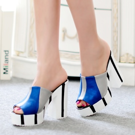 Ericdress Contrast Color Chunky Heel Mules Shoes