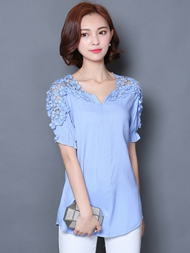 Ericdress Slim V-Neck Short-Sleeve Blouse
