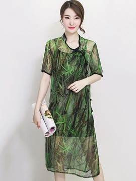 Ericdress Print See-Through Split Casual Dress