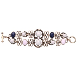 Double Layer Blue and White Gem Bracelet