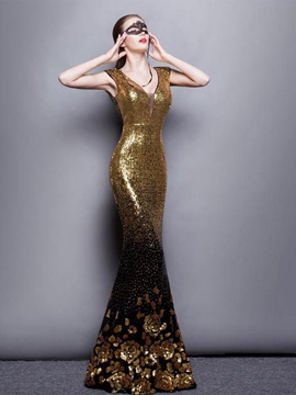 Ericdress Trumpet V-Neck Cap Sleeves Sequins Flowers Floor-Length Evening Dress