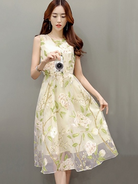 Ericdress Sleeveless Embroidery Casual Dress