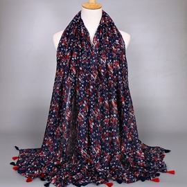 Dark Blue Small Floral Voile Scarf