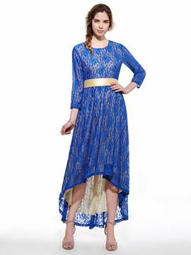 Ericdress Soild Color Lace Asymmetric Maxi Dress