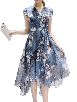 Ericdress Flower Print Lace-Up Asymmetric Short Sleeve Casual Dress