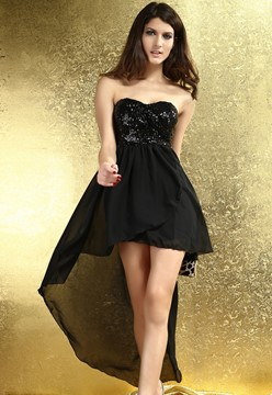Charming Boulevard Sequined Long Dress Black Fashion Clubwear