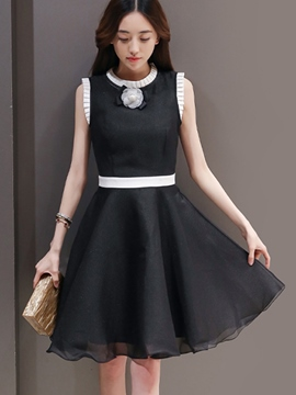Ericdress A-Line Sweetheart Color Block Casual Dress