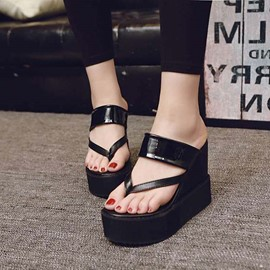 Ericdress Fashion Solid Color Clip Toe Wedge Sandals
