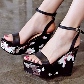 Ericdress Floral Print Pee Toe Men's Wedge Sandals