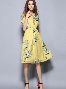Ericdress Ladylike Print Short Sleeve Casual Dress