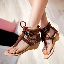 Ericdress Ethnic Thong Zipper Plain Lace-Up Wedge Sandals