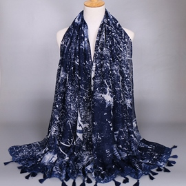 Dark Blue Cotton Printed Scarf