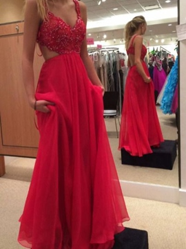 Ericdress A-Line Straps Appliques Beading Hollow Floor-Length Prom Dress