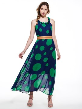 Ericdress Dots Print Expansion Maxi Dress