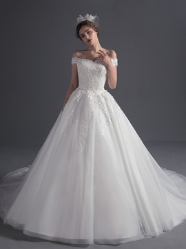 Ericdress Beautiful Appliques Off The Shoulder Ball Gown Wedding Dress