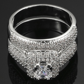 AAA Zircon Double-Layer Ring Set