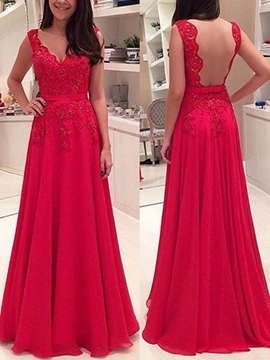 Ericdress A-Line Straps Appliques Backless Long Evening Dress