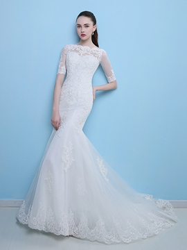 Elegant Mermaid Wedding Dress With Sleeves