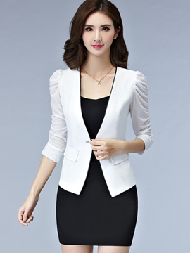 Ericdress Slim Solid Color Pleated Blazer