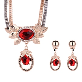 Ericdress Graceful Red Crystal Design Jewelry Set