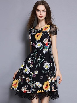 Ericdress Floral Print A-Line Casual Dress