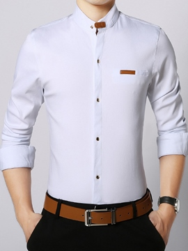 Ericdress Unique Stand Collar Slim Fit Men's Shirt