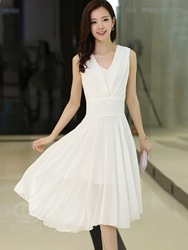 Ericdress Ladylike Soild Color Pleated Casual Dress