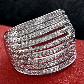 Multirows Zircon Wide Ring