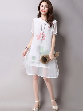 Ericdress Ehitc Print Double Layer Casual Dress