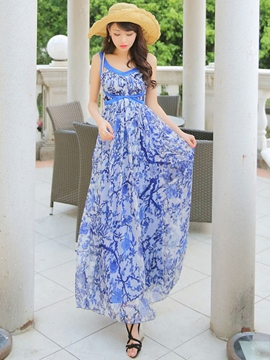 Ericdress Floral Print High-Waist Patchwork Maxi Dress