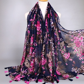 Dark Blue Big Flower Voile Scarf