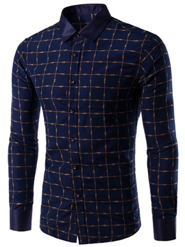 Ericdress Plaid Long Sleeve Simple Men's Shirt