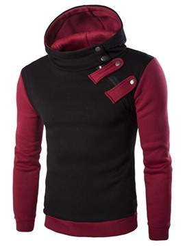 Ericdress Color Block with Buttons Pullover Men's Hoodie