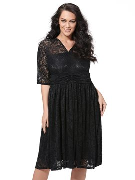 Ericdress V-Neck Plus Size Lace Dress
