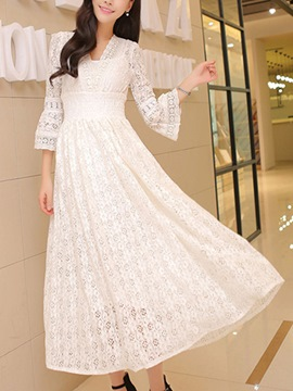 Ericdress Flare Sleeve Lace Maxi Dress