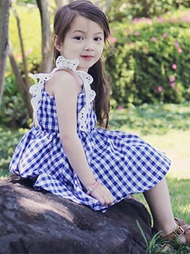 Ericdress Plaid Girls Summer Dress