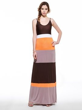 Ericdress Spaghetti Strap Stripe Maxi Dress