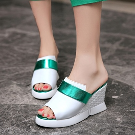Ericdress Patchwork Peep Toe Wedge Mules Shoes