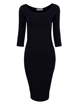 Ericdress Simple Soild Color Bodycon Dress